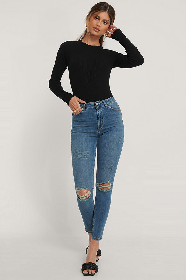 NA-KD Reborn Ekologiska Skinny Jeans Med Hög Midja Och Slitningar blå