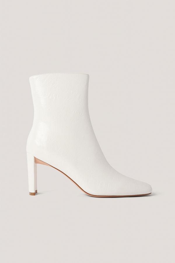 NA-KD Shoes Stövletter Med Rynkning På Ovansidan vit