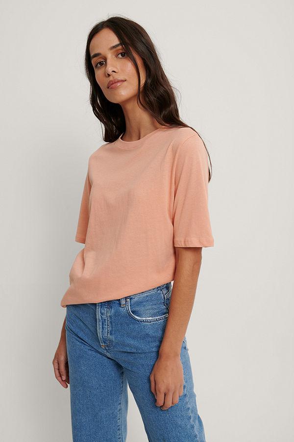 NA-KD Basic T-Shirt Med Hög, Rund Halsringning orange