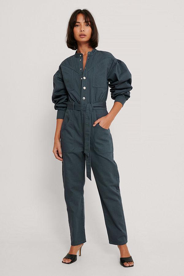 NA-KD Trend Färgad Jumpsuit I Denim blå
