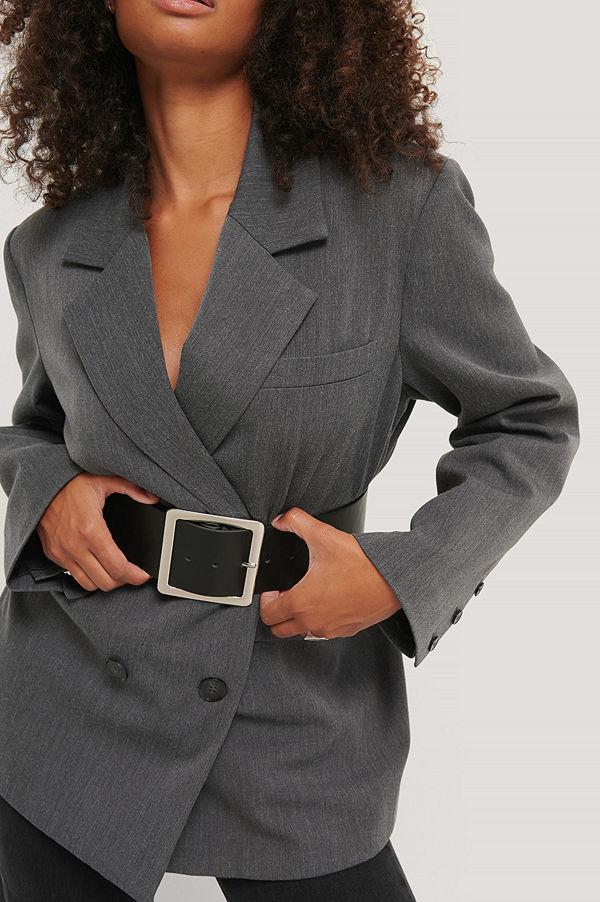 NA-KD Accessories Midjebälte Med Fyrkantigt Spänne svart