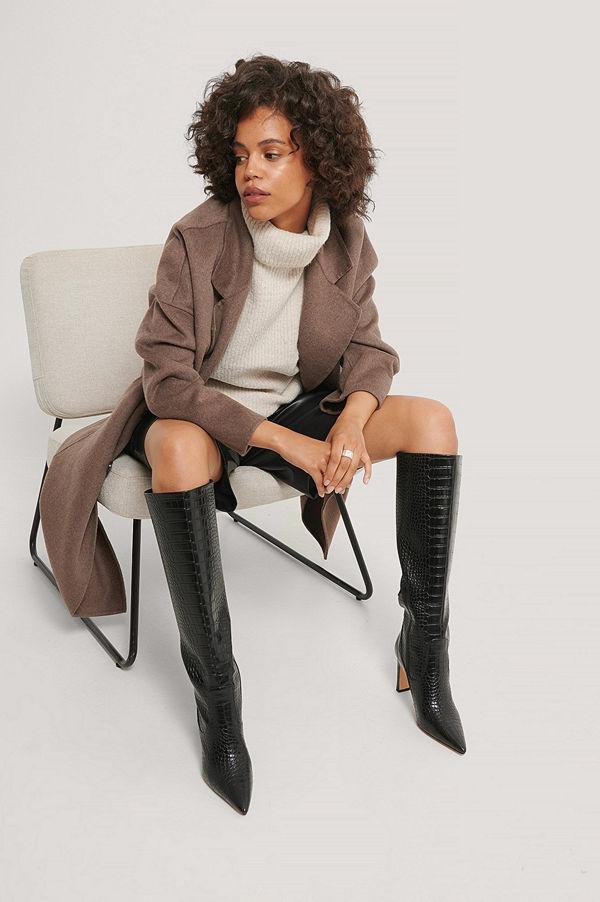 NA-KD Shoes Spetsiga Boots Med Löst Skaft svart