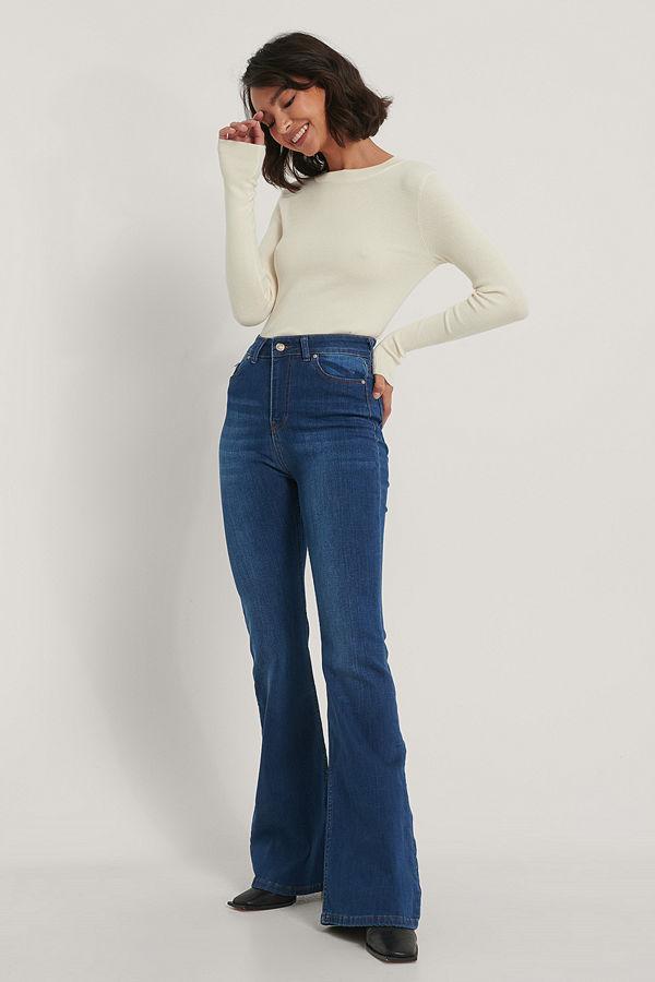Trendyol Utsvängda Jeans navy