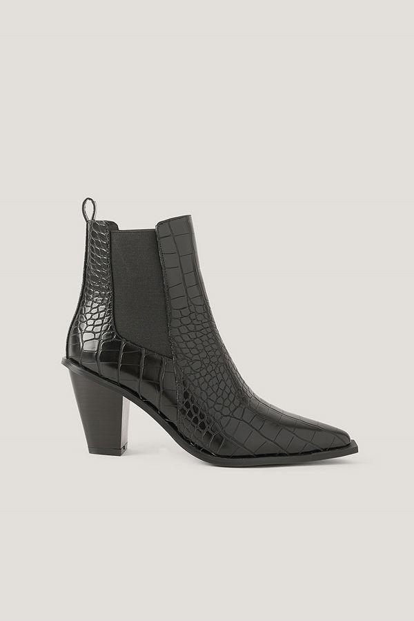 NA-KD Shoes Spetsiga Stövlar Med Blockklack svart