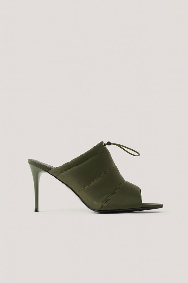 NA-KD Shoes Spetsiga Högklackade Skor Med Öppen Tå Och Dragsko grön