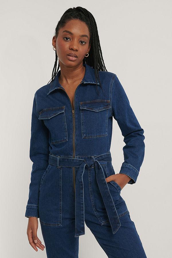 NA-KD Trend Jumpsuit I Denim Med Dragkedjedetalj blå