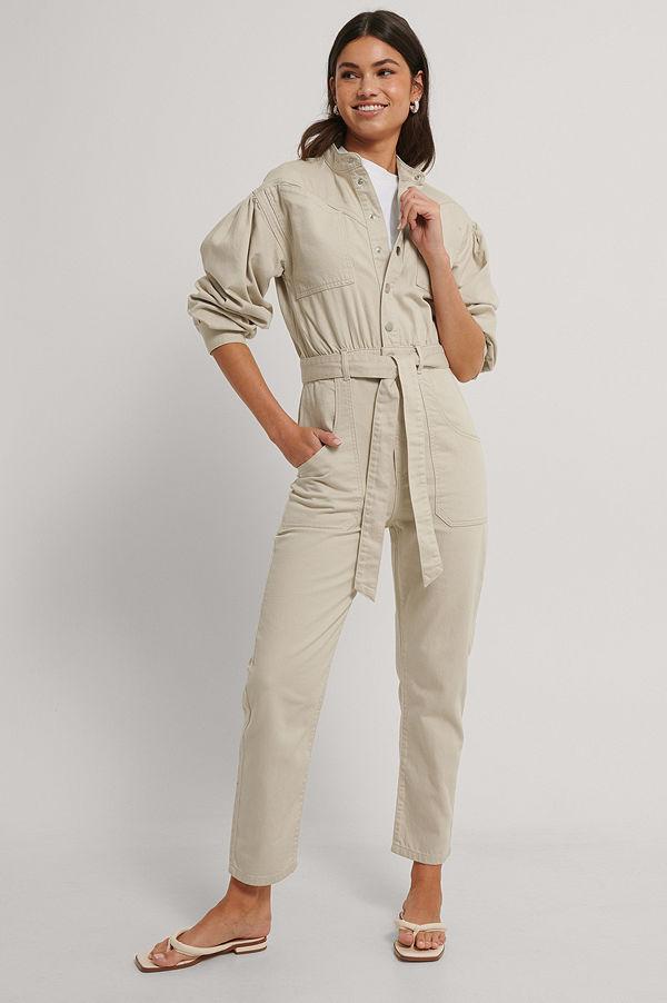NA-KD Trend Färgad Jumpsuit I Denim beige