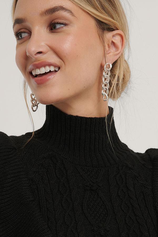 NA-KD Accessories smycke Örhängen Med Hängande Kedja Bak silver