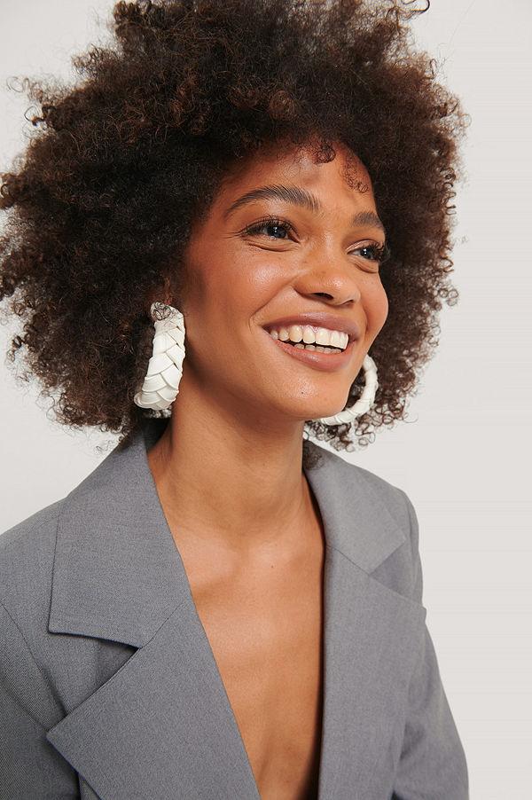 NA-KD Accessories smycke Hoops-Örhängen offvit