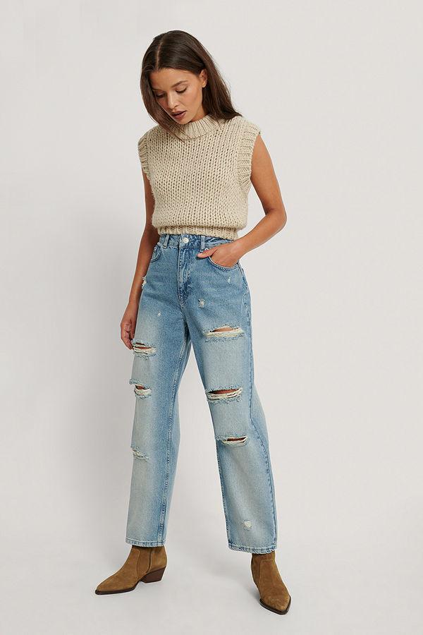 NA-KD Skinny Jeans Med Hög Midja Och Slitningar blå