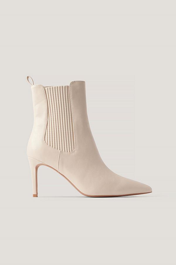 NA-KD Shoes Stilettboots Med Elastisk Detalj beige