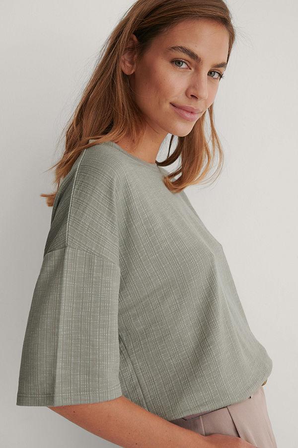 NA-KD Ribbad T-Shirt Med Rund Halsringning grå