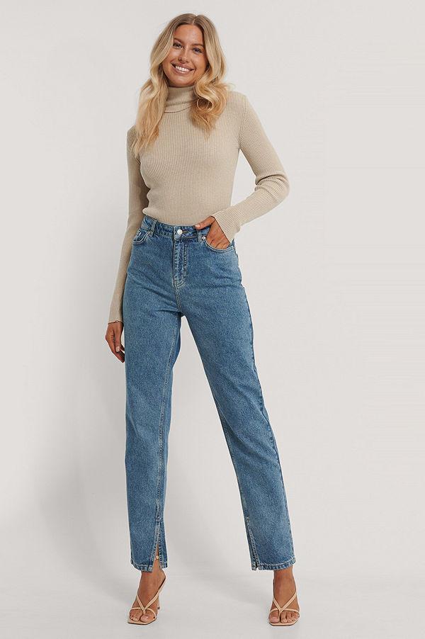 NA-KD Reborn Ekologiska Jeans Med Slits I Sidan blå