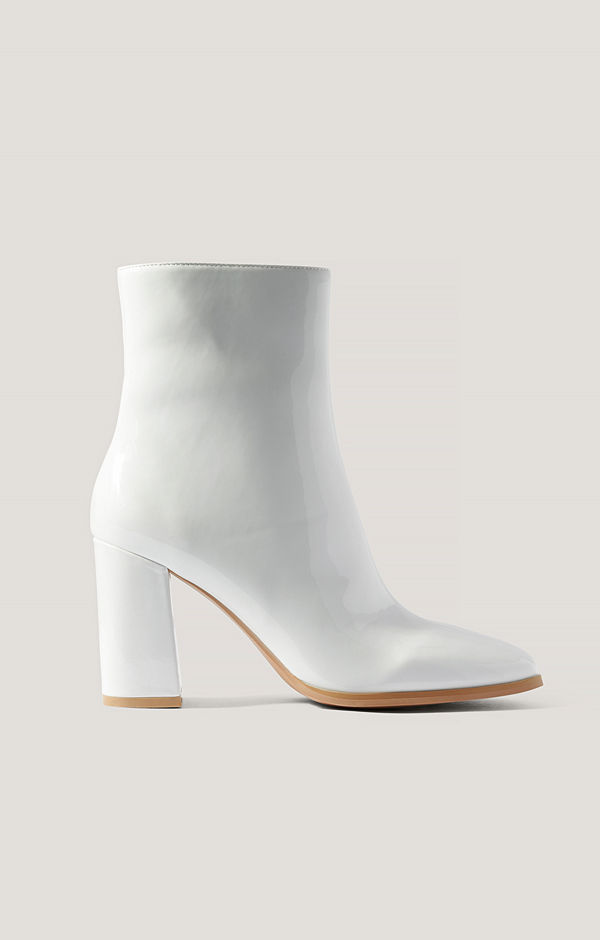 NA-KD Shoes Lackboots Med Fyrkantig Tå vit