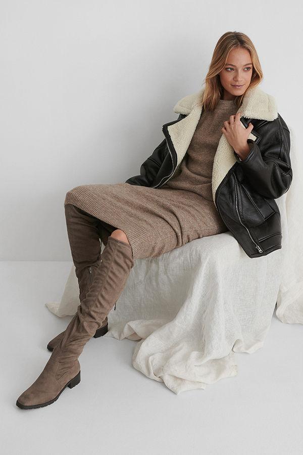 NA-KD Shoes Basic Overknees Med Profilsula brun