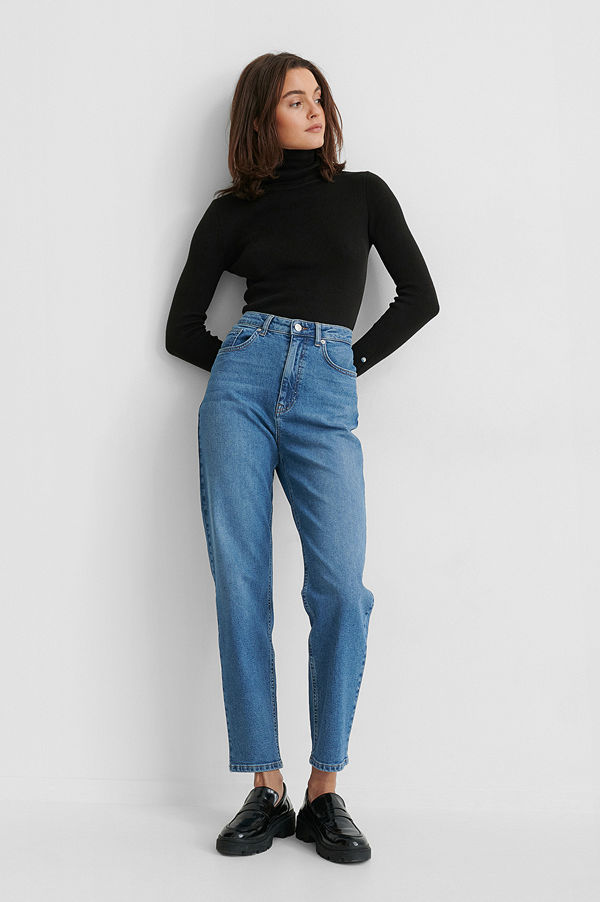 Gine Margrethe X NA-KD Ekologiska Mom-jeans blå