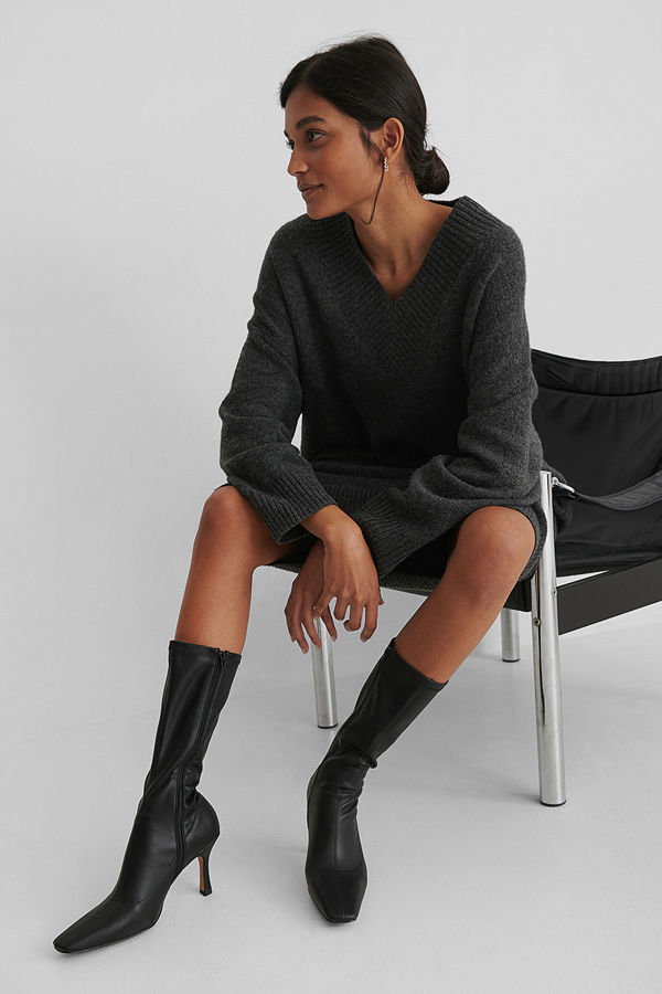 NA-KD Shoes Smala Boots Med Lång Tå svart