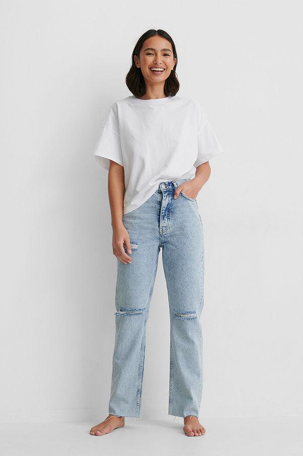NA-KD Reborn Ekologiska Jeans Med Slitningar På Knäet Och Hög Midja blå