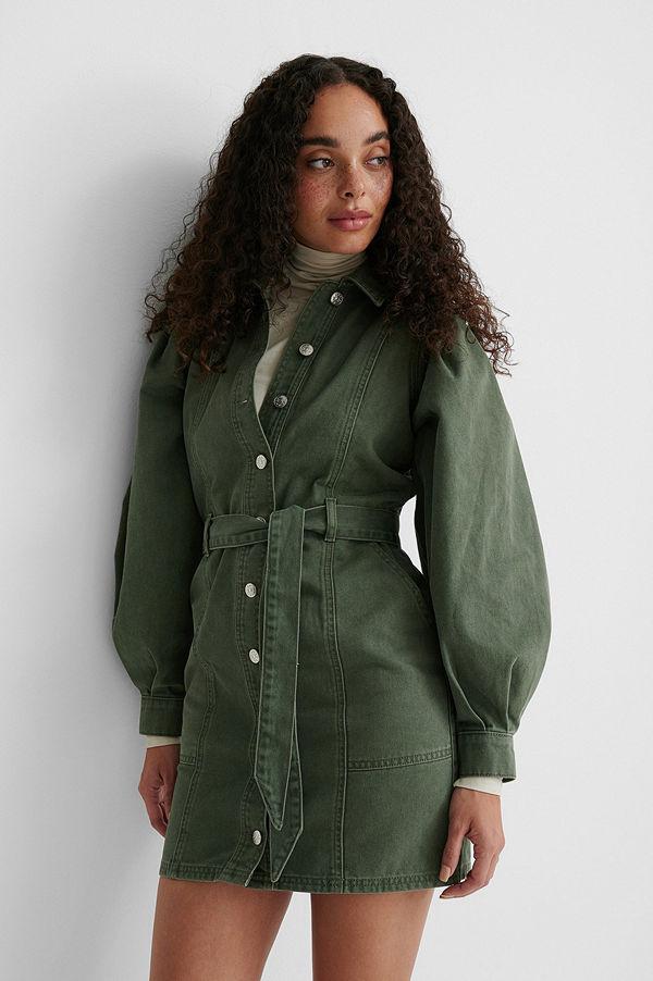 NA-KD Reborn Ekologisk Puffärmad Denimklänning Med Lång Ärm grön