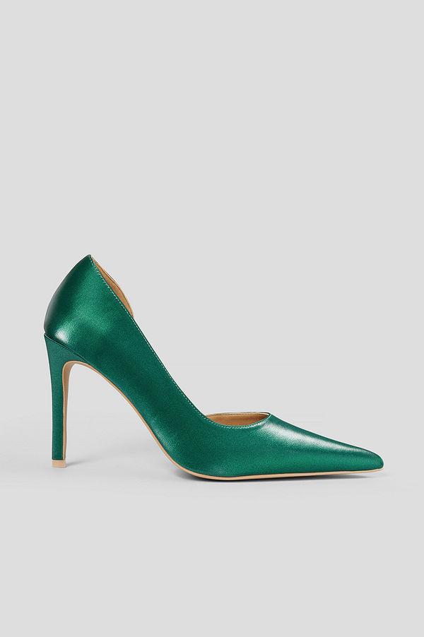 NA-KD Shoes Metallic Pumps Med Utskuren Detalj I Sidan grön