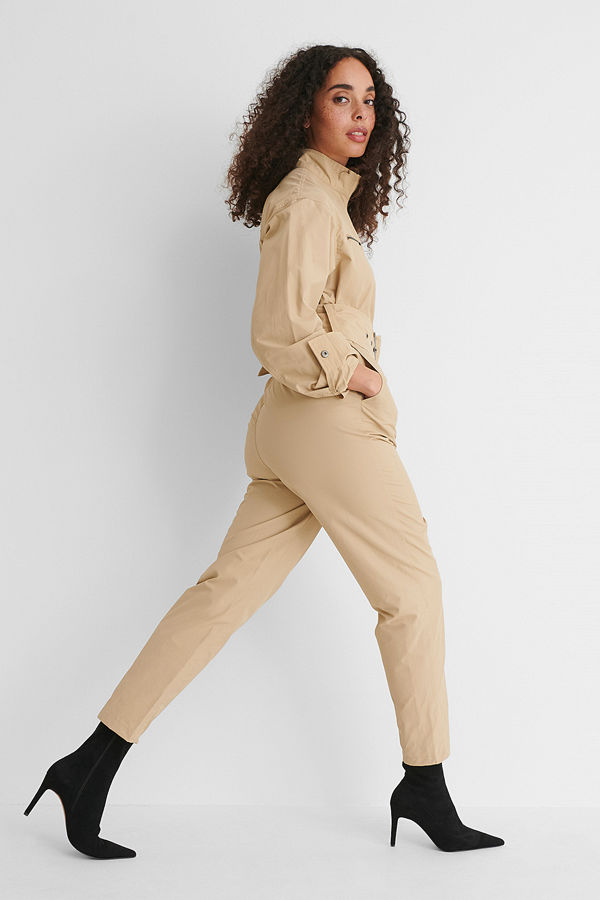 NA-KD Trend Utilityjumpsuit beige