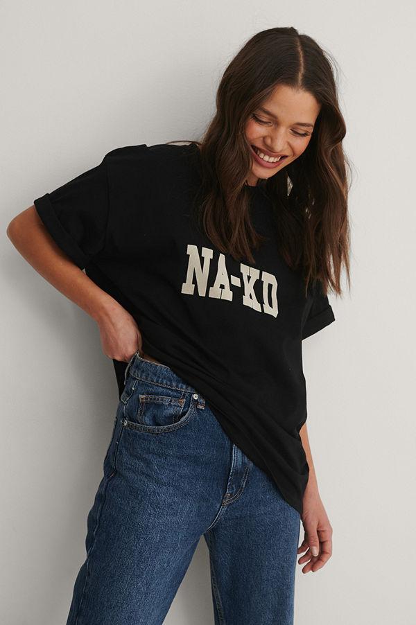 NA-KD Reborn Ekologisk T-shirt Med Logga svart