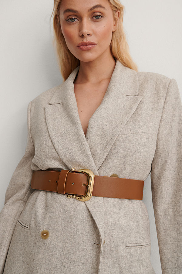 NA-KD Accessories Läderbälte brun