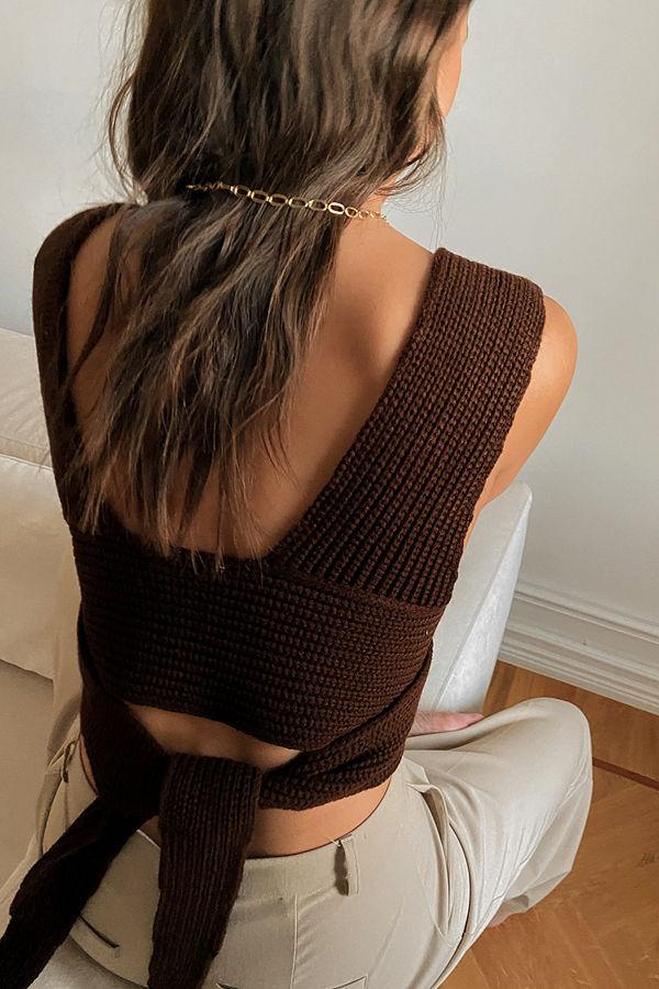 NA-KD Trend Stickad Topp brun