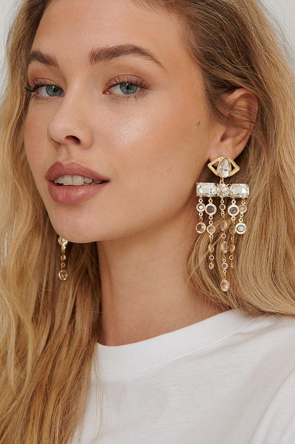 NA-KD Accessories smycke Oversize Glass Drop Earrings guld