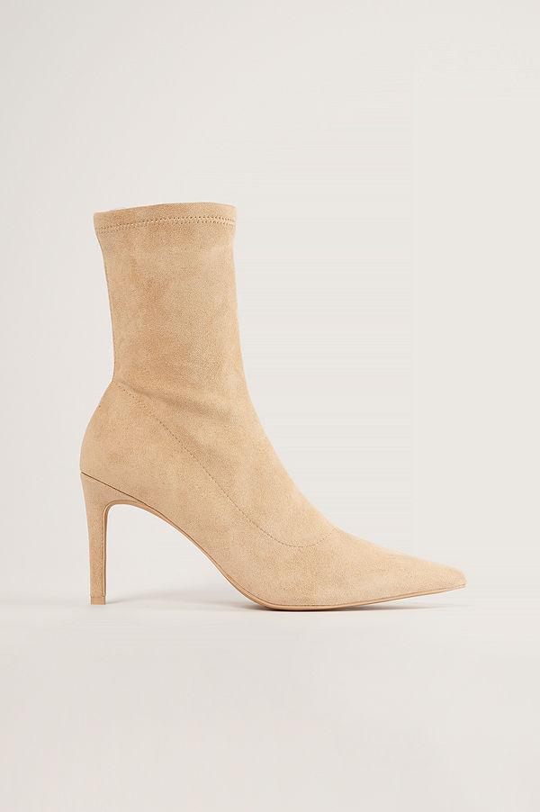 NA-KD Shoes Spetsiga Stövlar Med Hög Klack beige