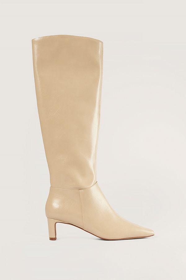 NA-KD Shoes Knähöga Stövlar beige