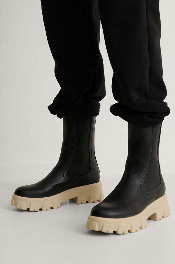 NA-KD Shoes Stövlar Med Elastiska Skaft svart