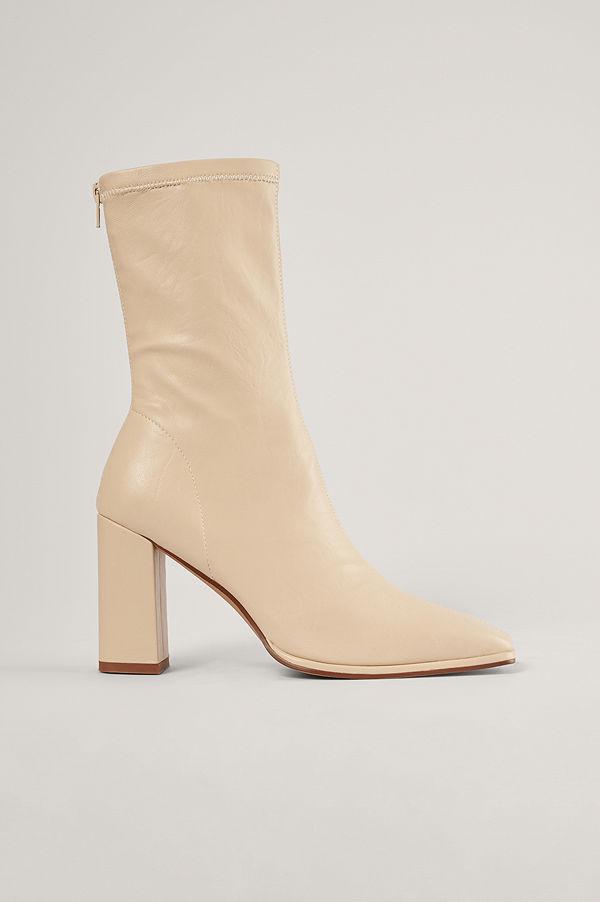 NA-KD Shoes Boots Med Fyrkantig Tå beige
