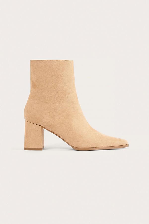 NA-KD Shoes Boots I Mockaimitation Med Smal Tå beige