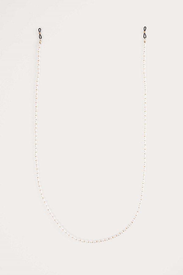 NA-KD Accessories Pearl Sunglass Chain vit