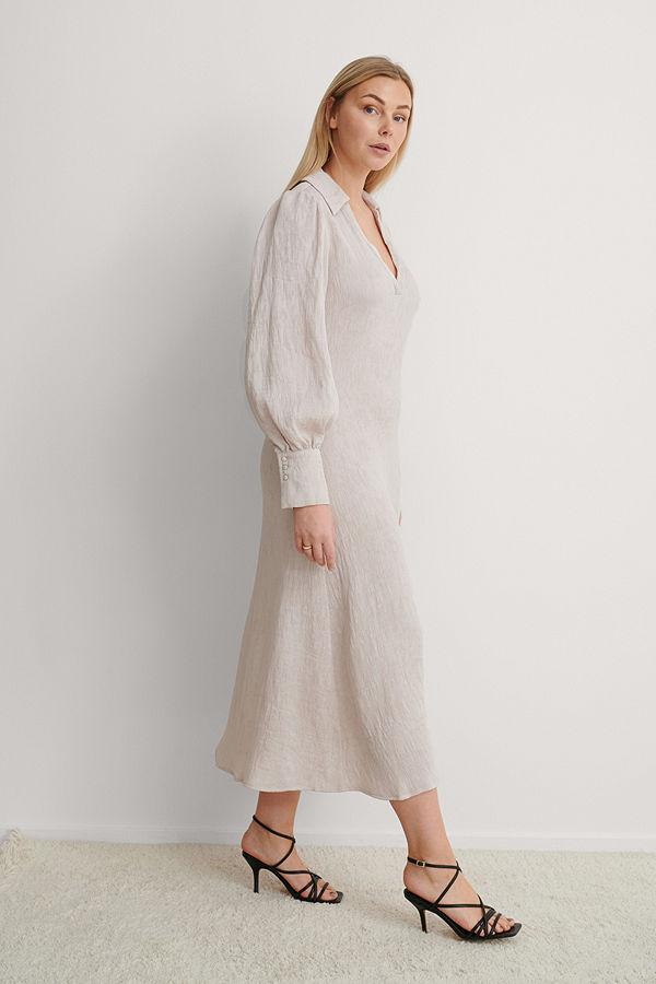 NA-KD Trend Maxiklänning Med Ballongärm beige