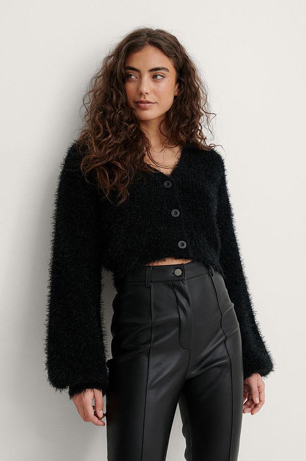 Melissa Bentsen x NA-KD Stickad Cardigan Med Ballongärm svart