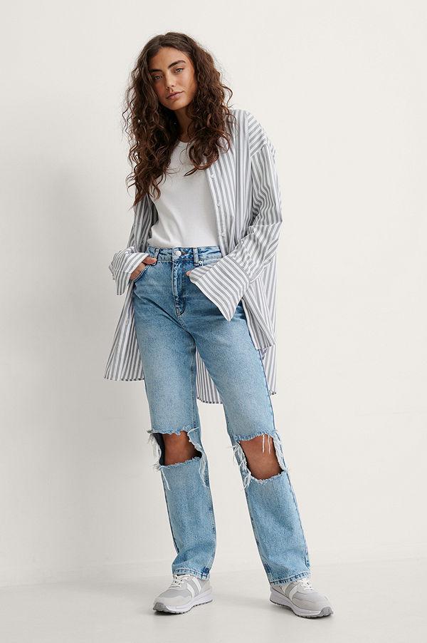 NA-KD Trend Raka Jeans Med Hög Midja Och Slitningar blå
