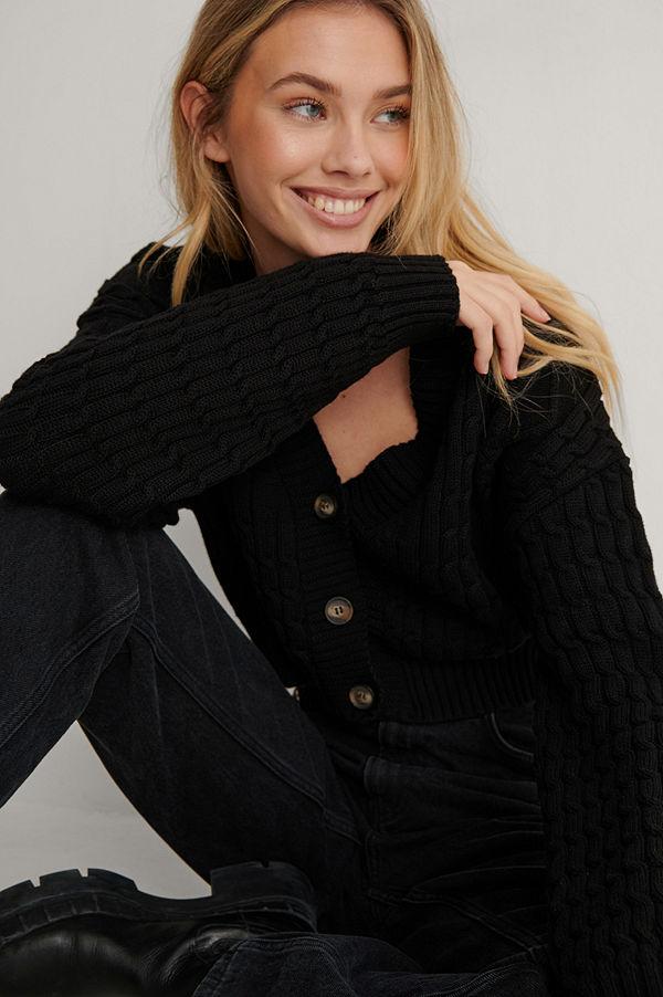 Lisa-Marie Schiffner x NA-KD Ekologisk Stickad Cardigan svart