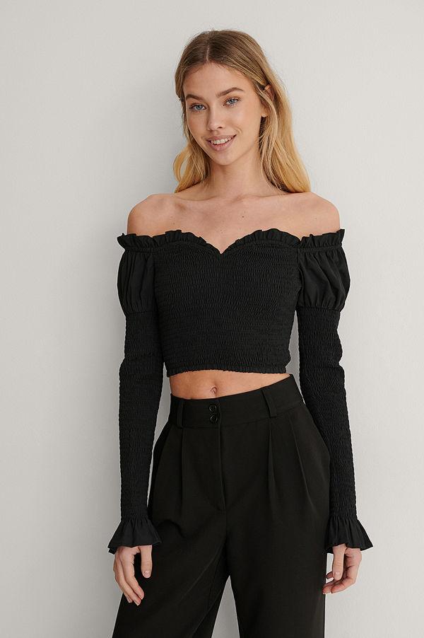 Lisa-Marie Schiffner x NA-KD Off Shoulder-Topp svart
