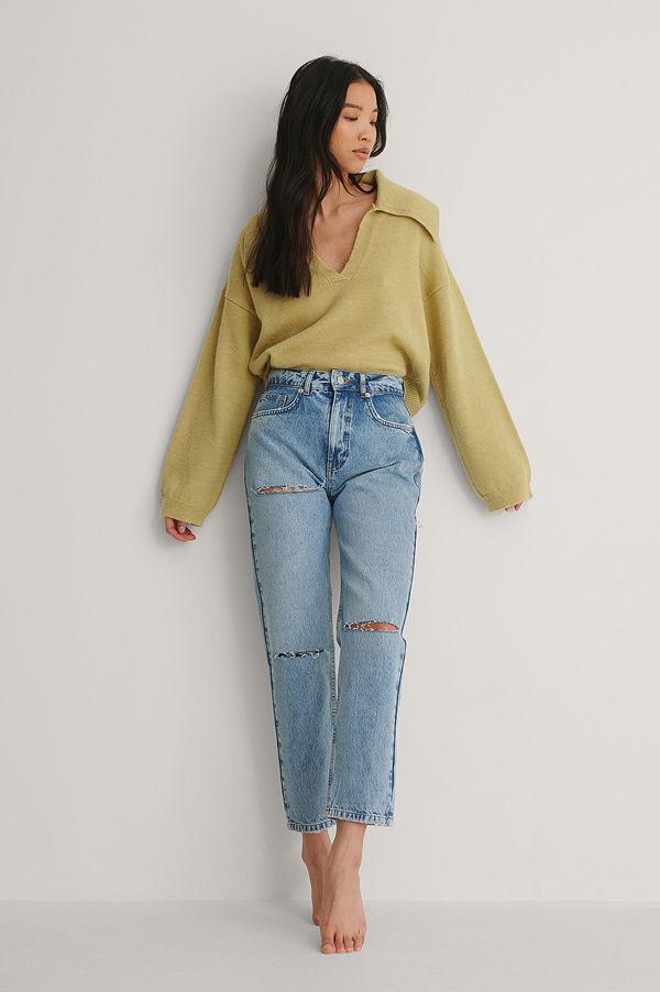 NA-KD Trend Mom Jeans Med Skuren Detalj Bak blå