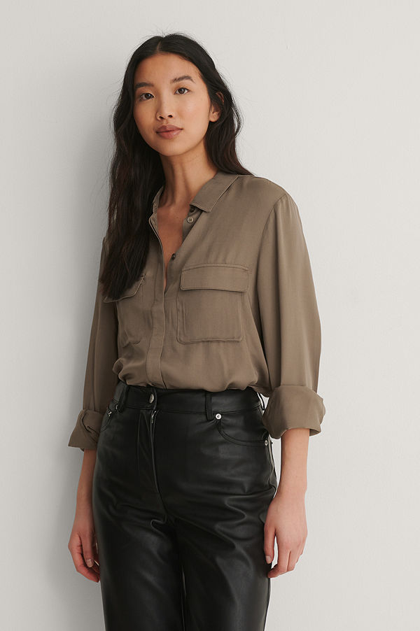 NA-KD Soft Double Pocket Shirt brun