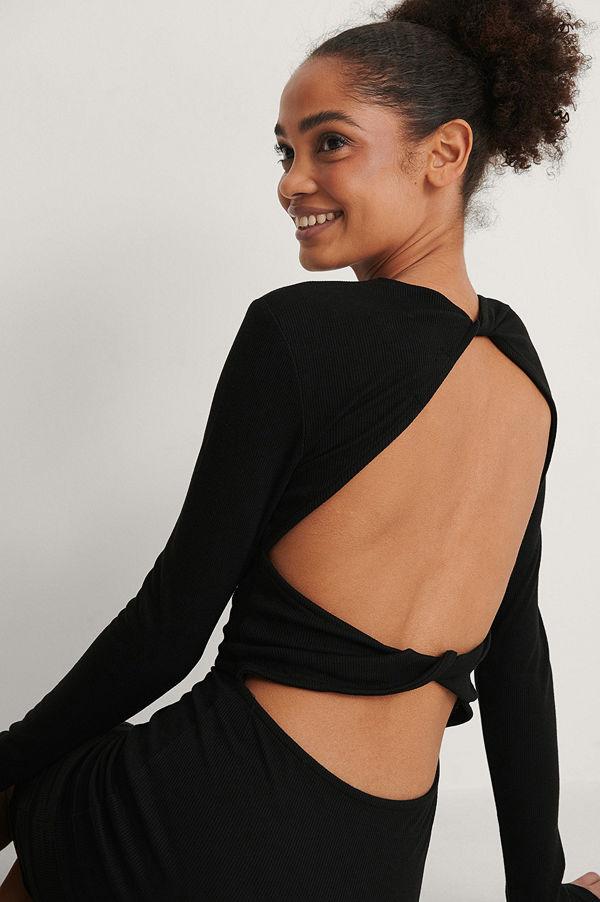 NA-KD Trend Recycled Ribbstickad Klänning Med Knytdetaljer svart