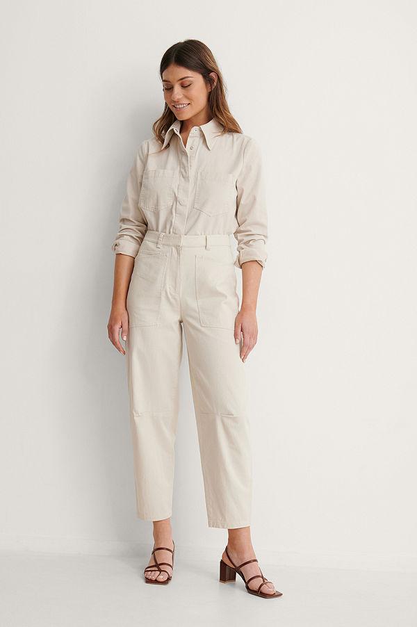NA-KD Reborn byxor Soft Cotton Cargo Pants beige