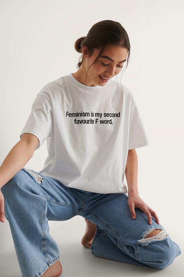 NA-KD Ekologisk Woman's Day T-shirt vit
