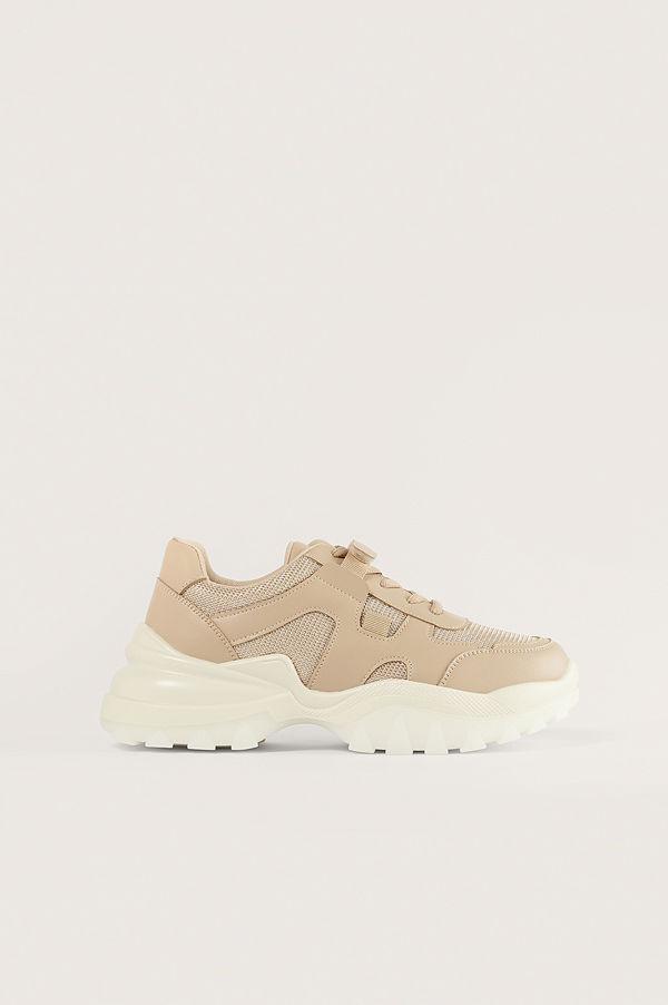 NA-KD Shoes Slim Velcro -Bandsträningsskor beige