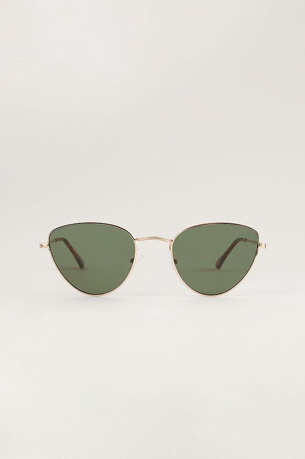 NA-KD Accessories Droppformade Solglasögon I Metall guld