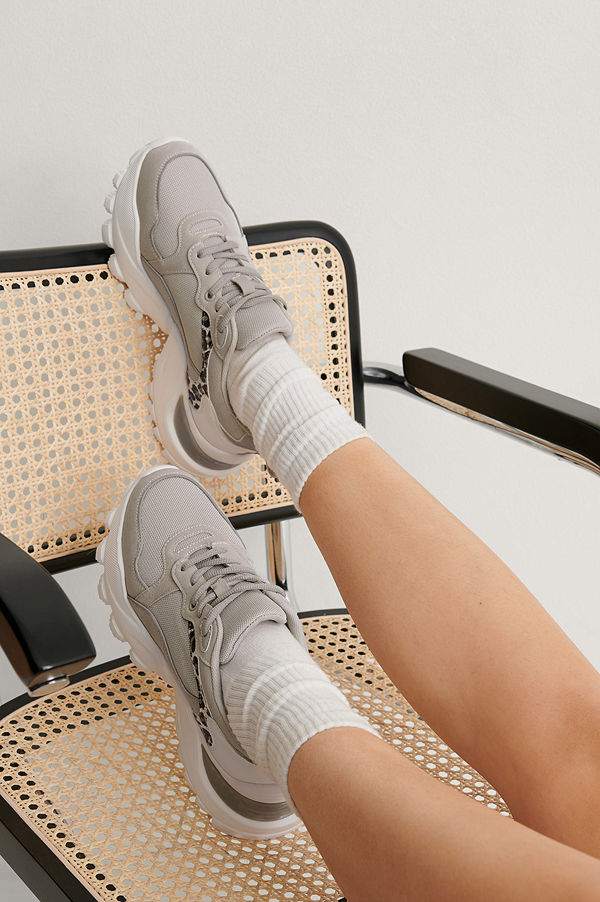 NA-KD Shoes Träningsskor Med Leopardmönster grå