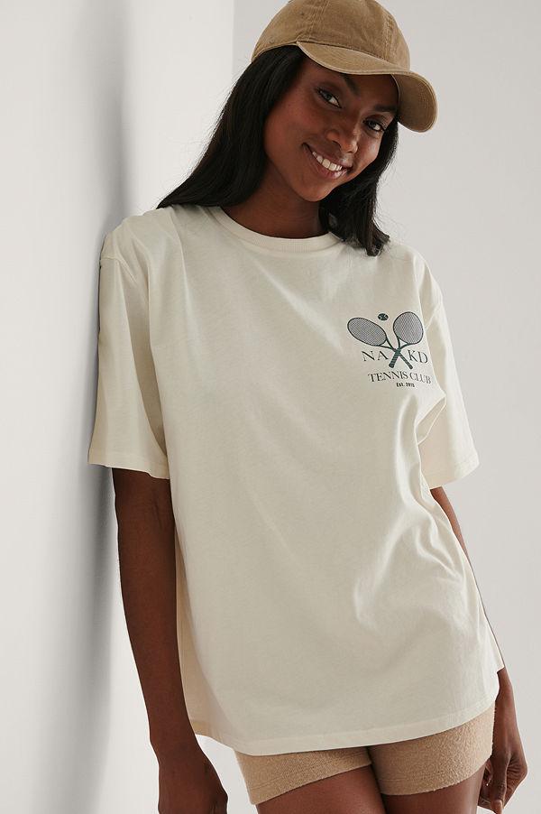 NA-KD Ekologisk T-shirt Med Tennis Club-tryck offvit