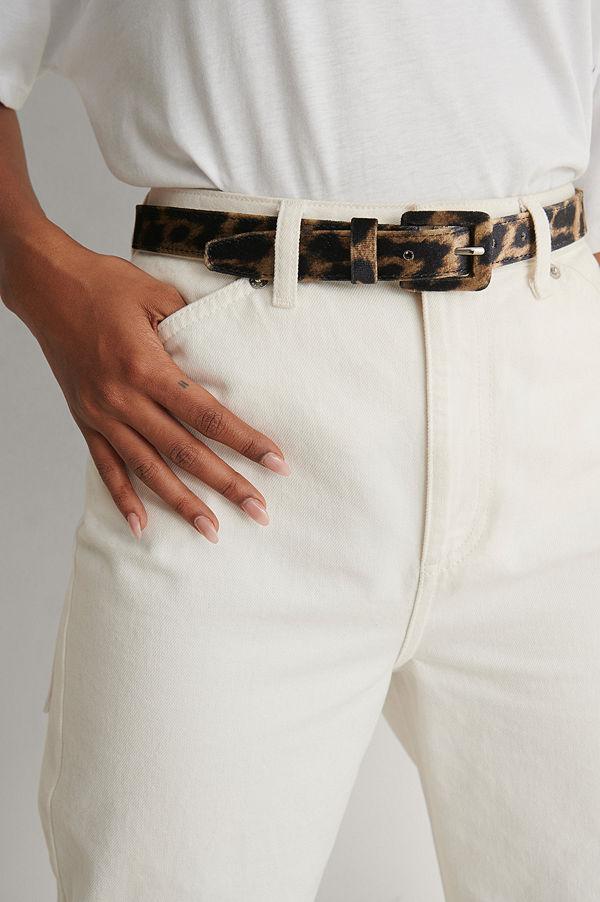 NA-KD Accessories Leopard Look Belt brun